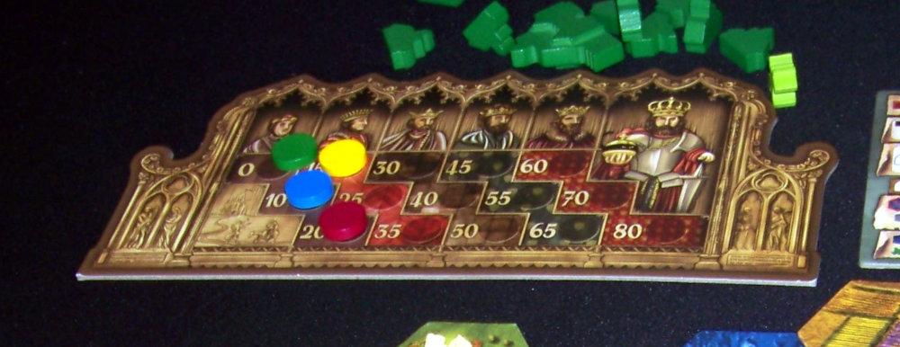 Detalle del tablero de los títulos nobiliarios en el juego de mesa Barony