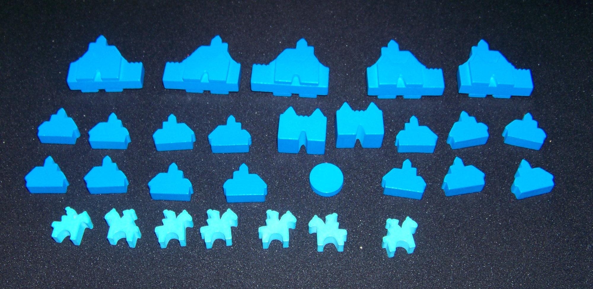Detalle de las maderitas de la jugadora azul - Barony