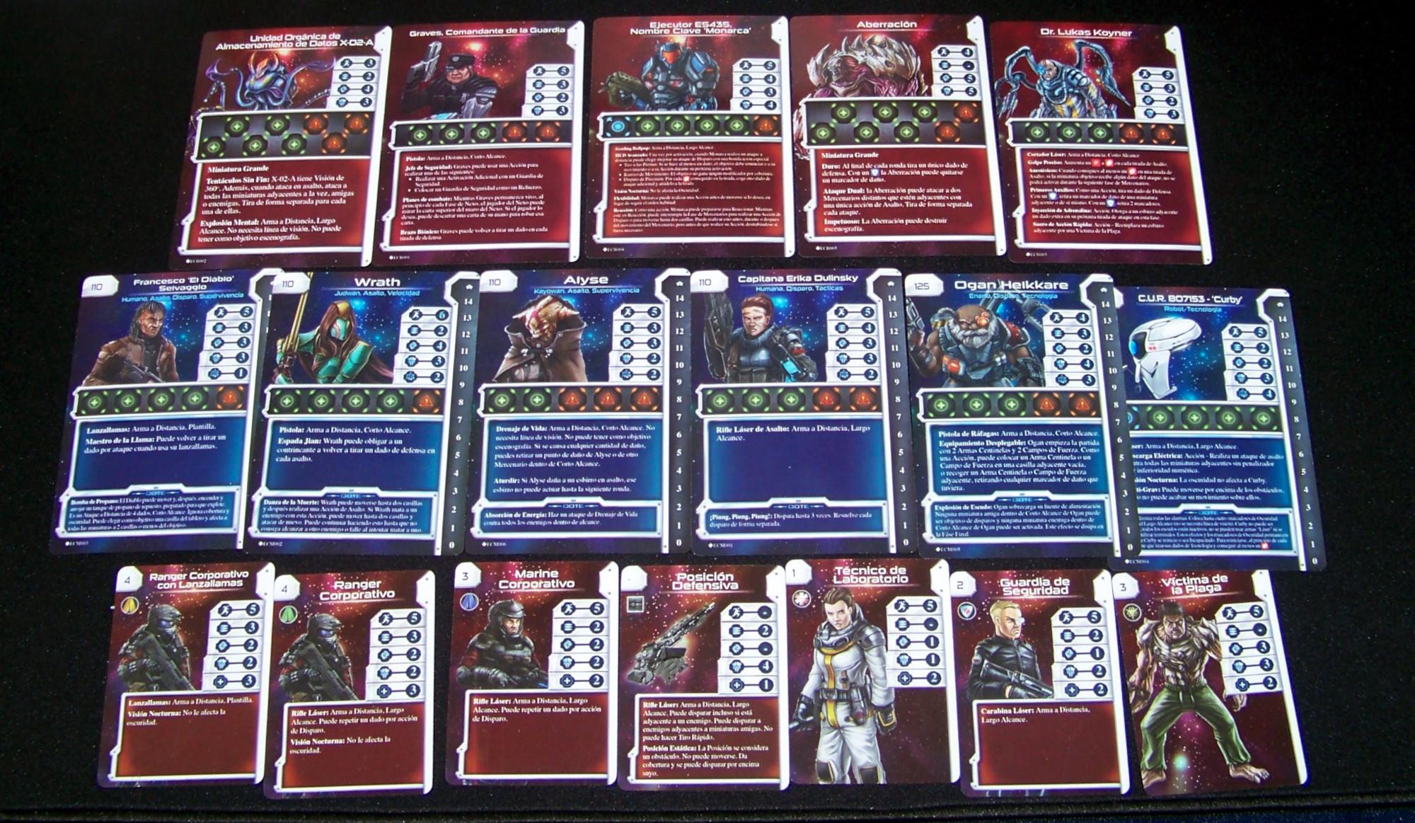 Star Saga - componentes: cartas de personajes