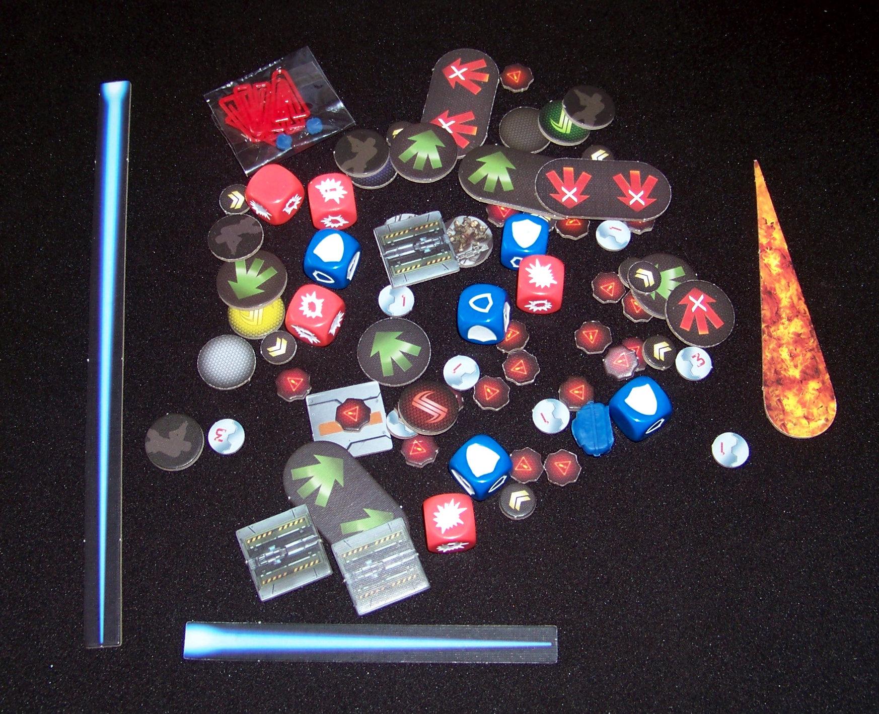 Star Saga - componentes: marcadores variados y dados.