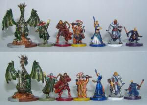 Juego de mesa Drakon - delante y atrás de las miniaturas