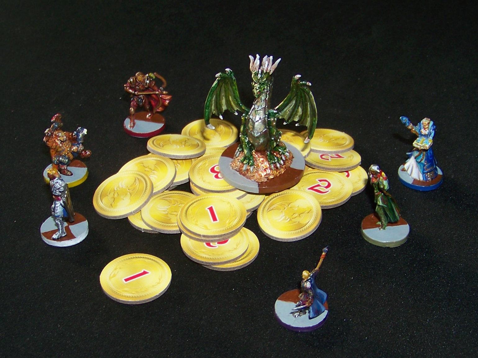 Juego de mesa Drakon - minis y monedas