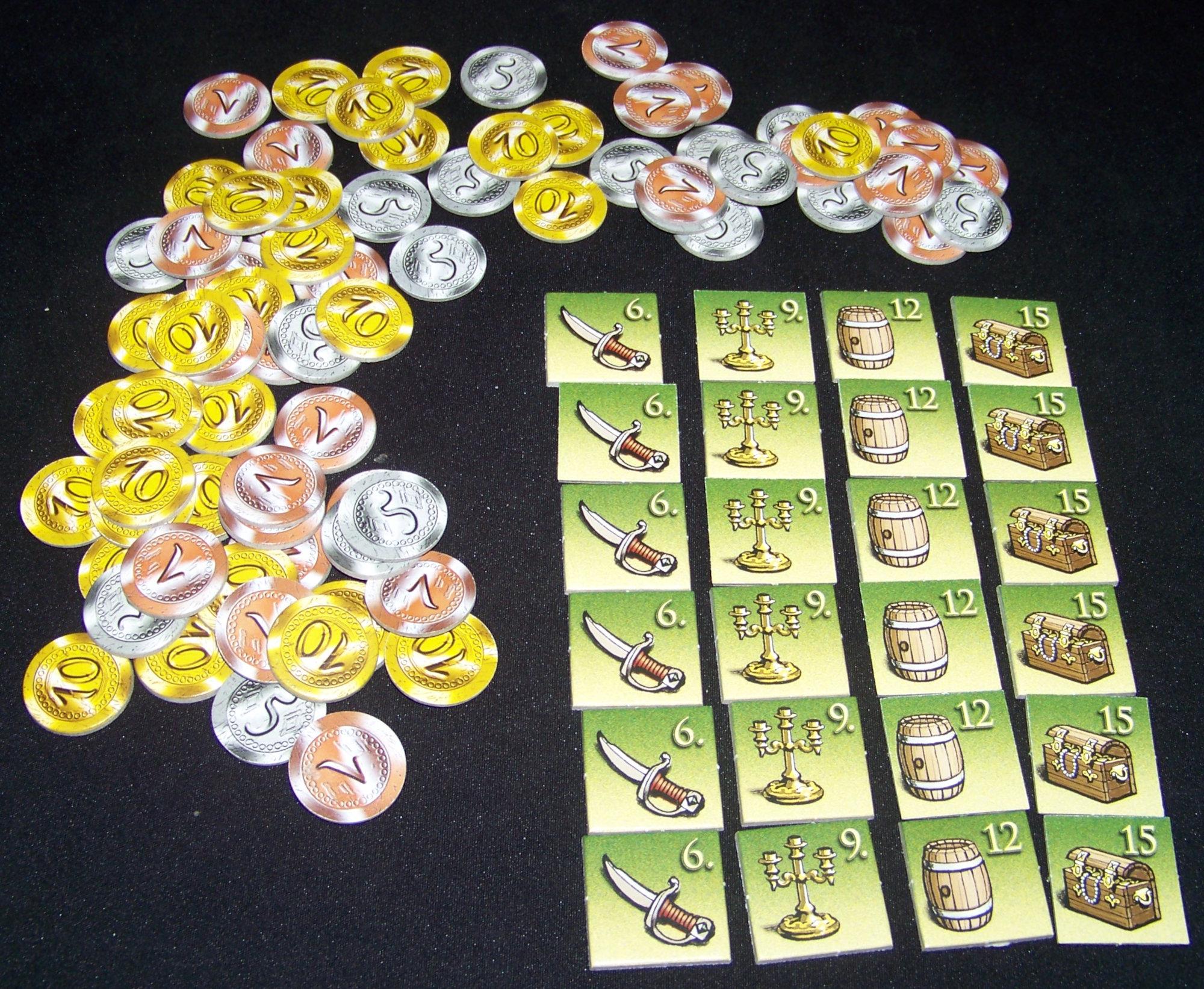 Juego de mesa Seeräuber (Buccaneer) - detalle fichas de cartón