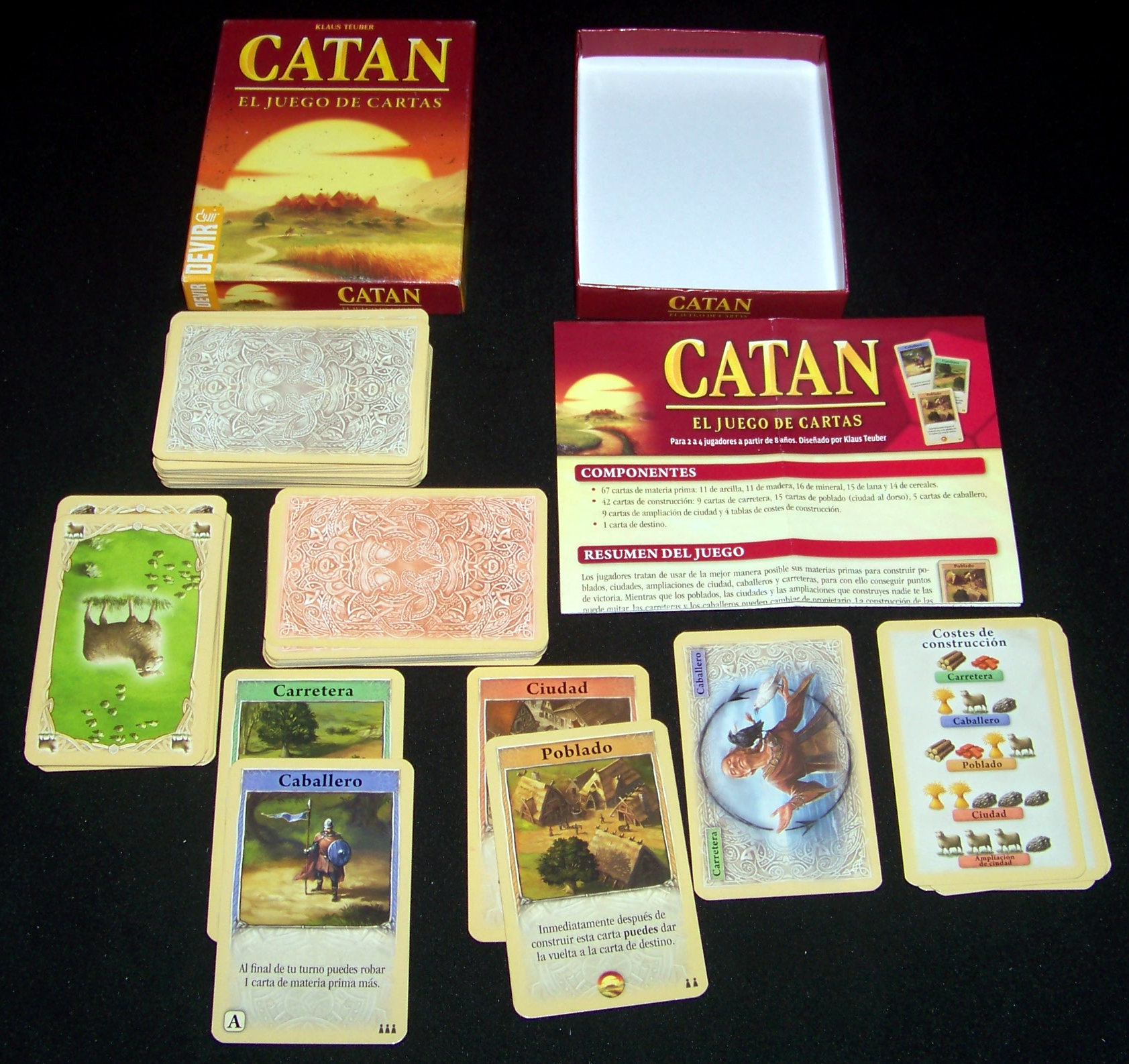 Juego de mesa Catán, el juego de cartas - Contenido.