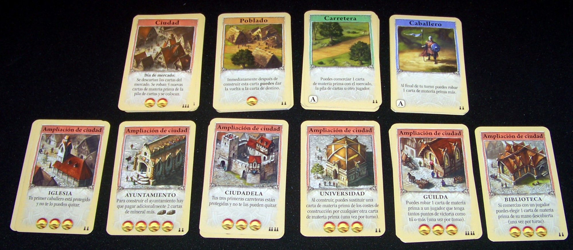 Juego de mesa Catán, el juego de cartas - detalle de las cartas de construcción