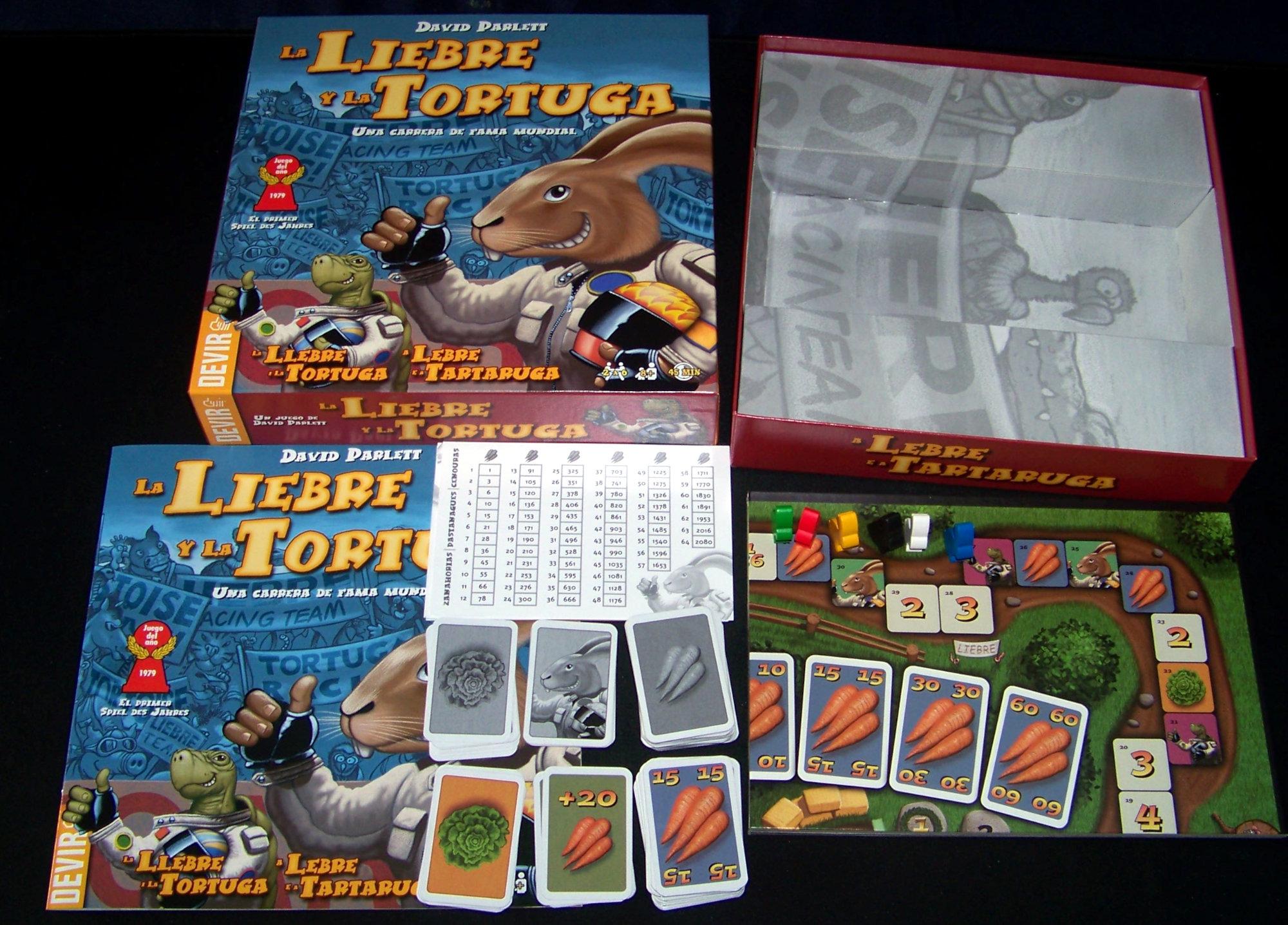 Juego de mesa La liebre y la tortuga - contenido.