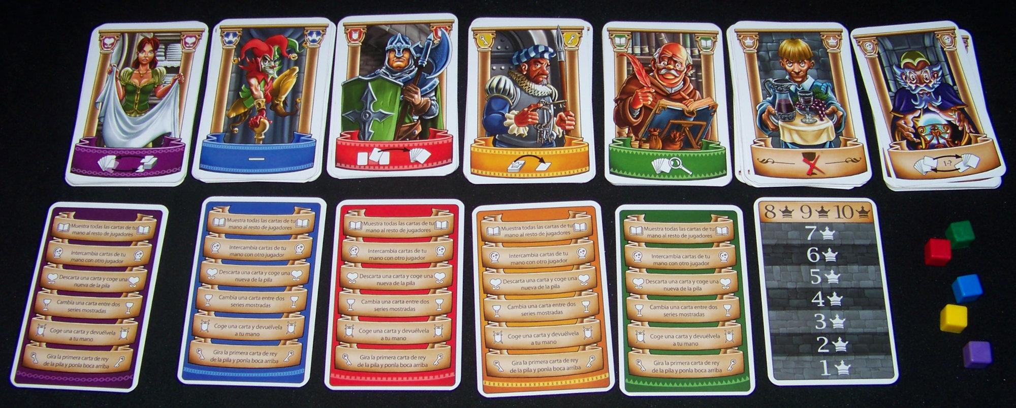 Juego de mesa Intrigas de Palacio - detalle de las cartas de personajes
