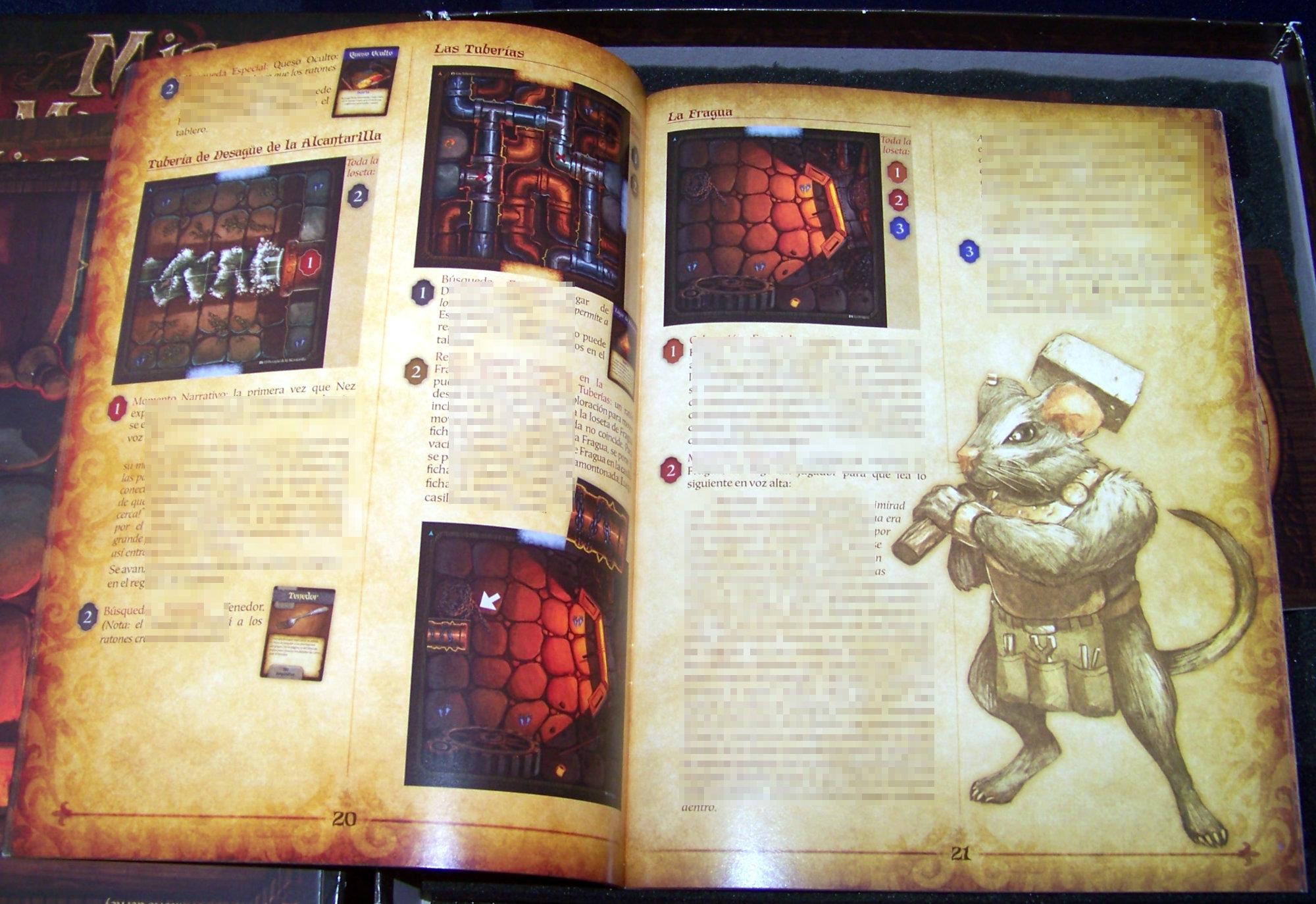 Juego de mesa De Ratones y Magia - una página del cuento (censurado)