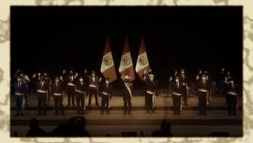 Fotoedición de una imagen de la ceremonia de jura del gabinete el 2021 (Perú)