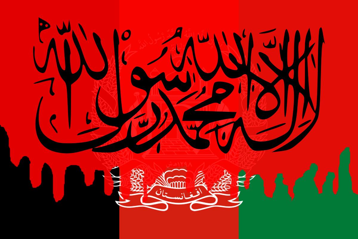 Bandera de Afganistán con sangre encima y la bandera del Emirato superpuesta.